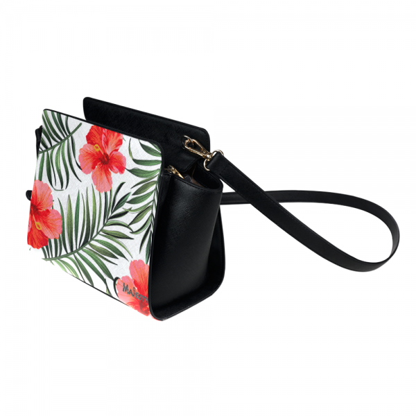 Sac bandoulière Majesty's - cuir hibiscus rouge