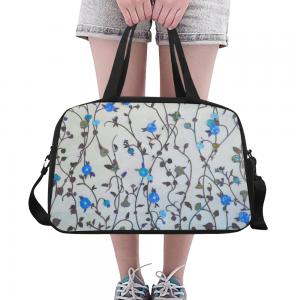 Sac de voyage Femme compartiment chaussure - Fleur bleue