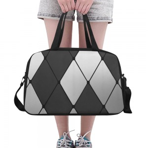 sac waterproof bagage + compartiment chaussure - carreaux noirs et blancs