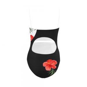 Maillot de bain femme - une pièce hibiscus rouge Monokini