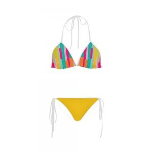 Maillot de bain femme - Bikini multicolor -  moutarde