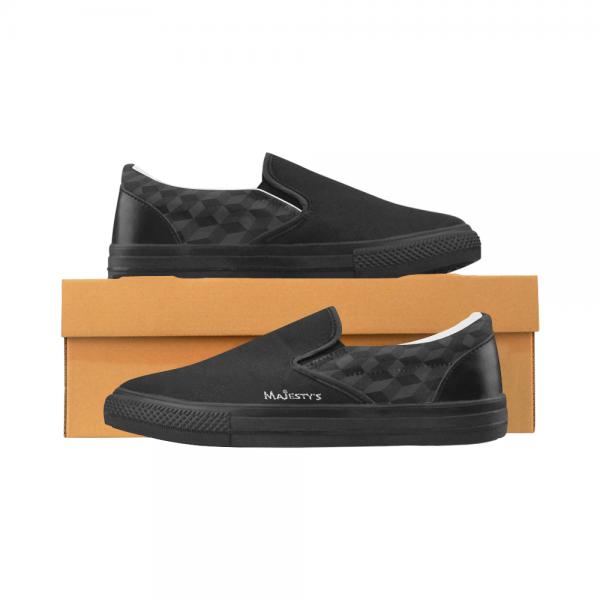 Chaussure Homme mocassin - mosaique noire Men's Slip-on Canvas Shoes (Model 019)